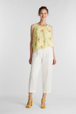 Layered blouse top made of crêpe chiffon, LIME YELLOW, detail