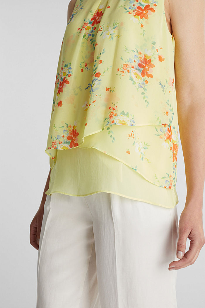 Layer-Blusentop aus Crêpe-Chiffon, LIME YELLOW, detail image number 2