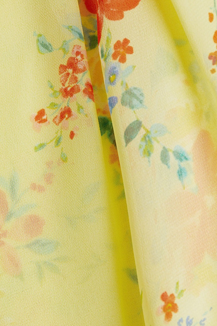 Layer-Blusentop aus Crêpe-Chiffon, LIME YELLOW, detail image number 4