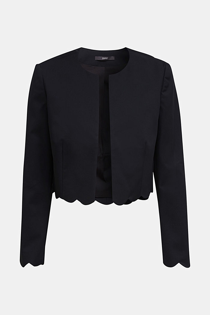 Stretch blazer with wavy edges, BLACK, overview
