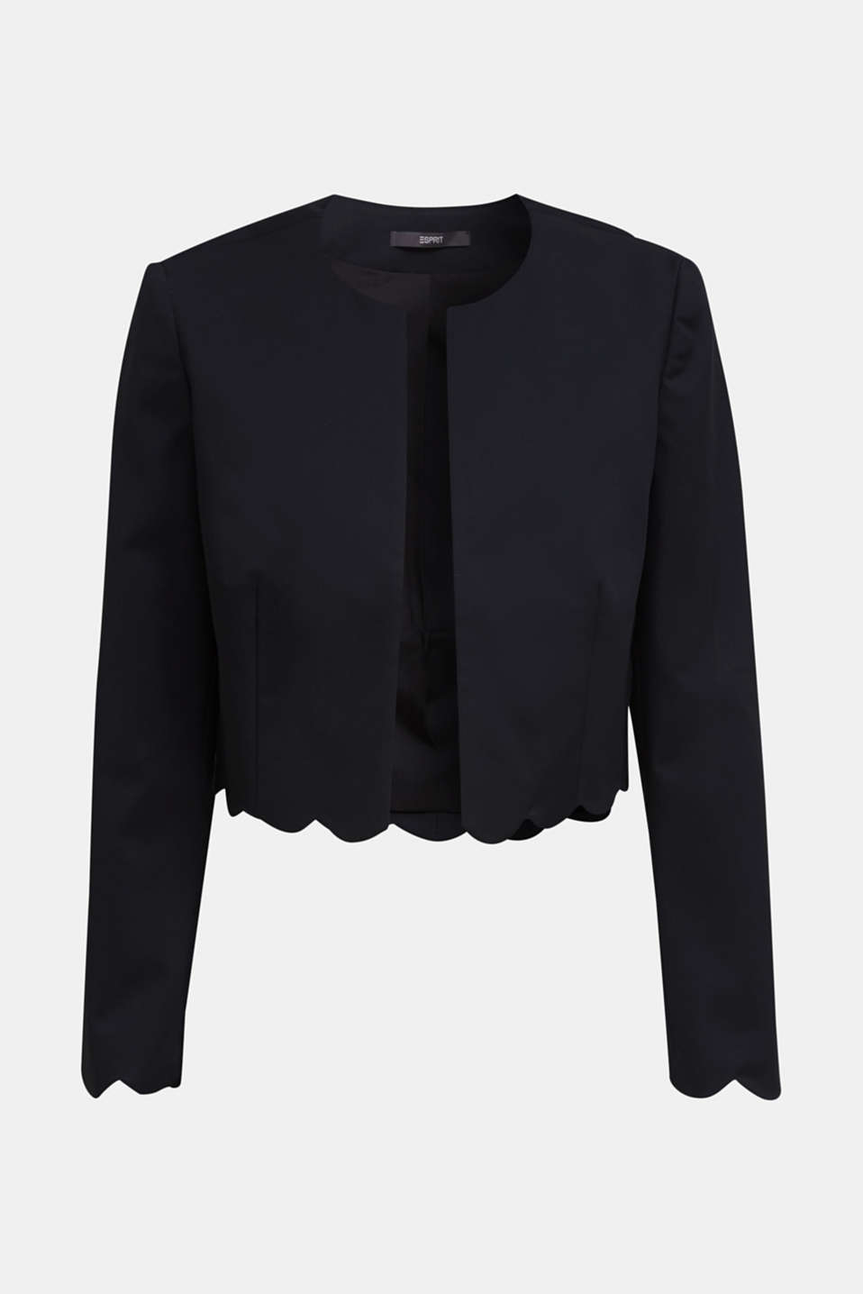 Stretch blazer with wavy edges, BLACK, detail image number 5