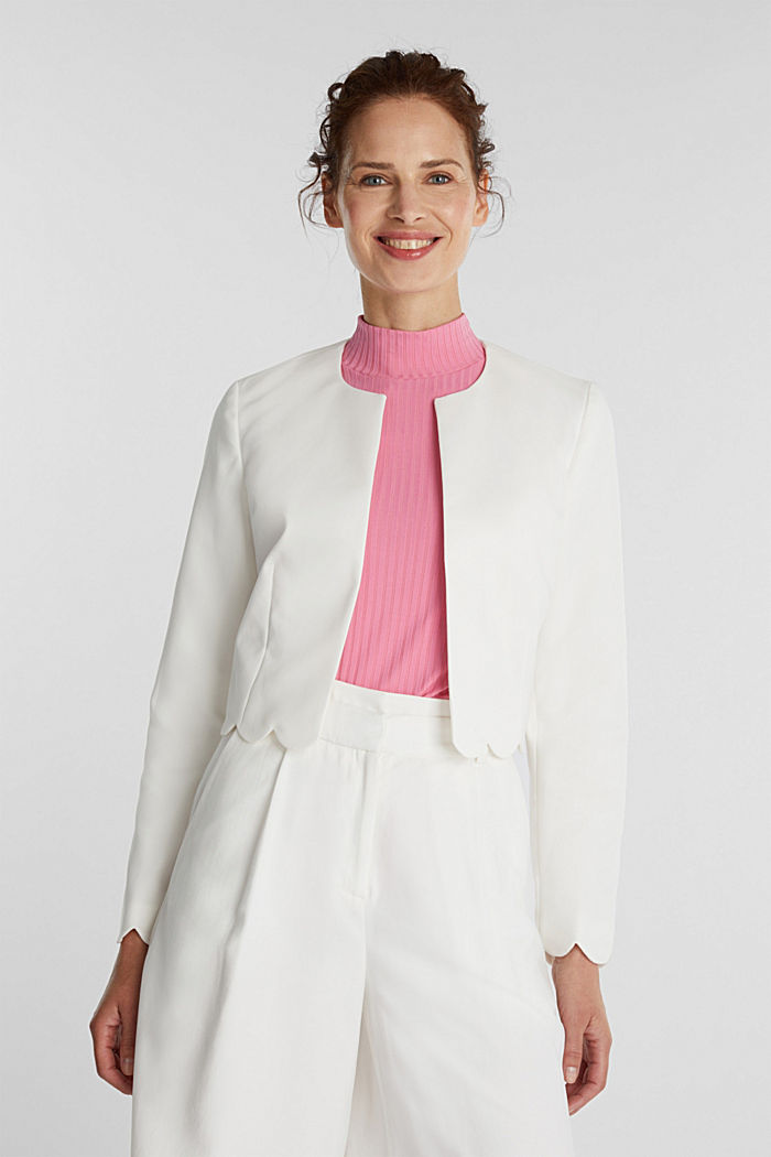 Stretch blazer with wavy edges, OFF WHITE, detail image number 0