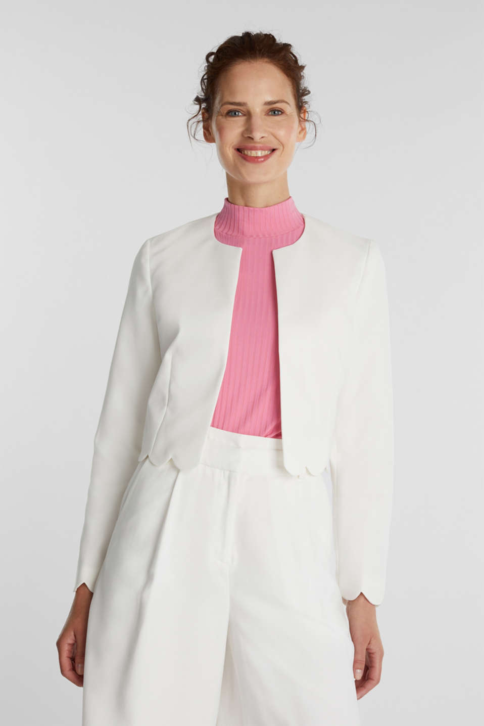 Esprit - Stretch blazer with wavy edges
