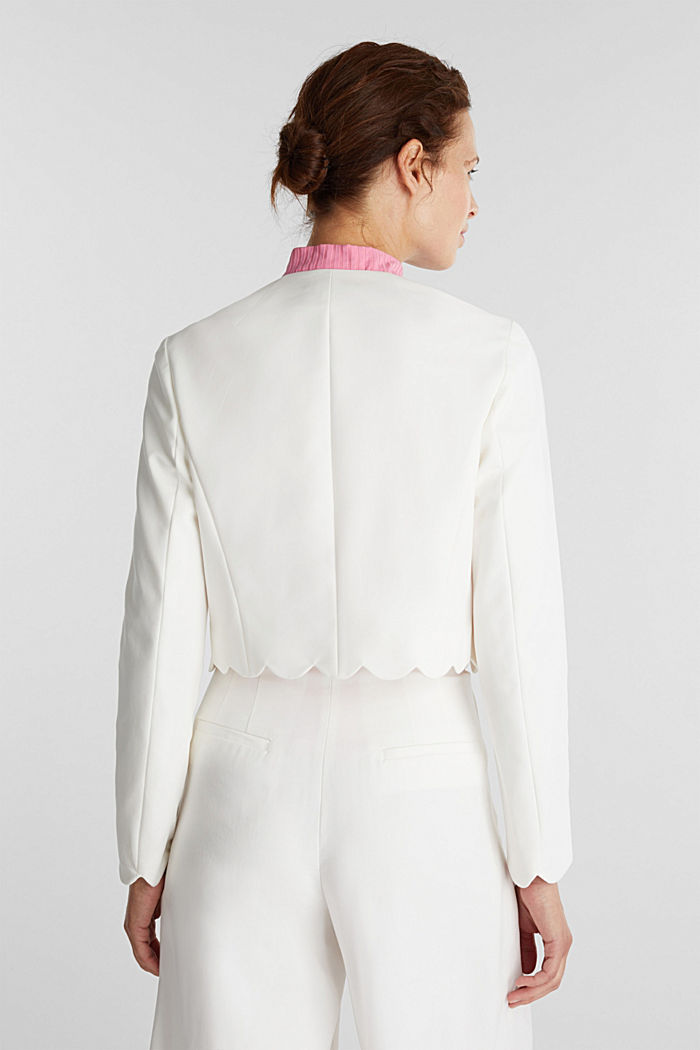 Stretch blazer with wavy edges, OFF WHITE, detail image number 3