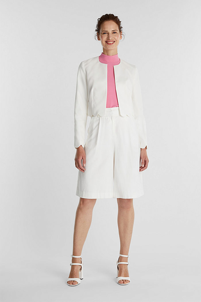 Stretch blazer with wavy edges, OFF WHITE, detail image number 1