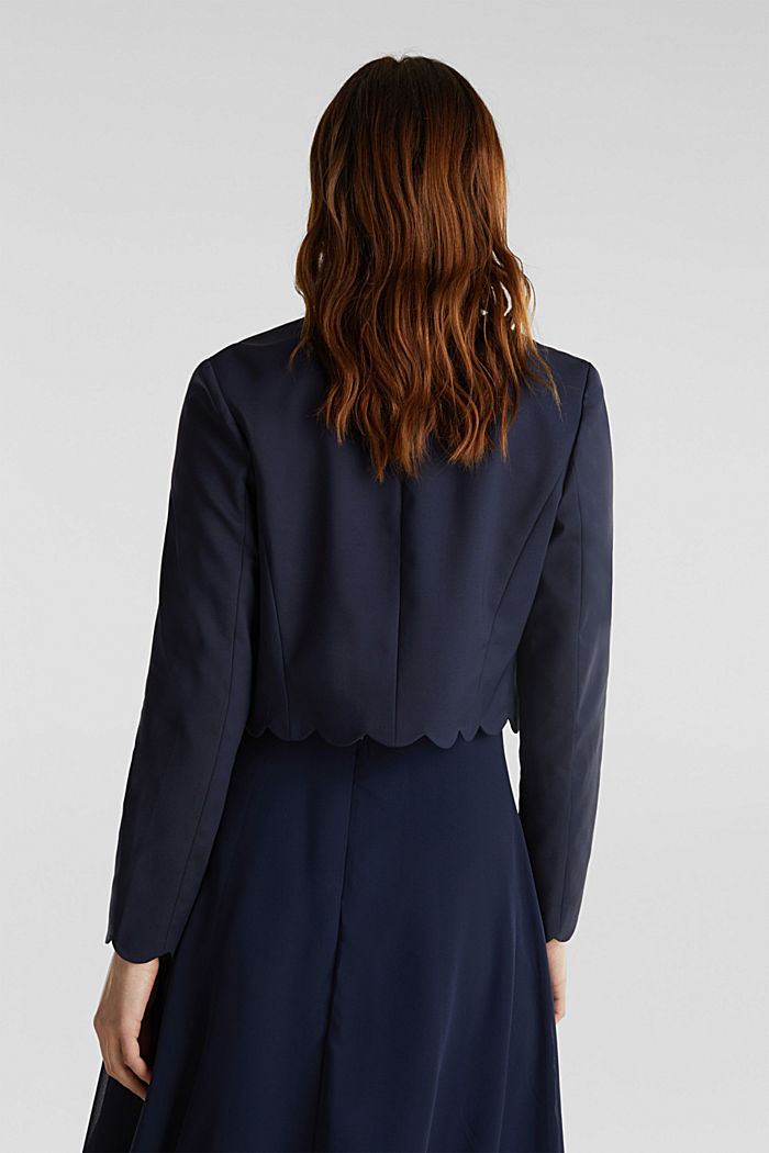 Stretch blazer with wavy edges, NAVY, detail image number 3