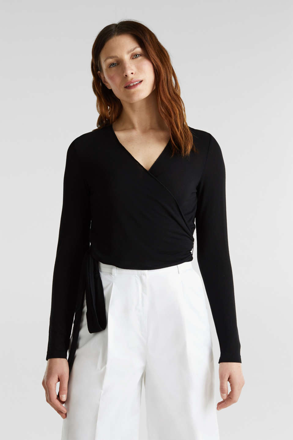 Stretch long sleeve top in wrap-over effect, BLACK, detail image number 0