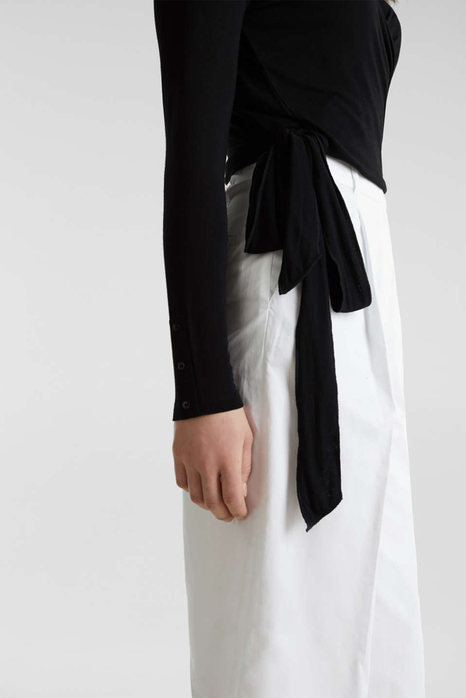 Stretch long sleeve top in wrap-over effect, BLACK, detail image number 5