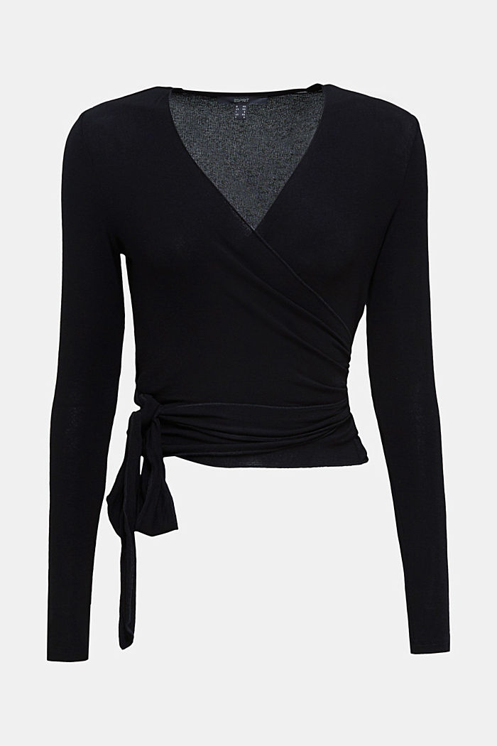 Stretch long sleeve top in wrap-over effect, BLACK, detail image number 6