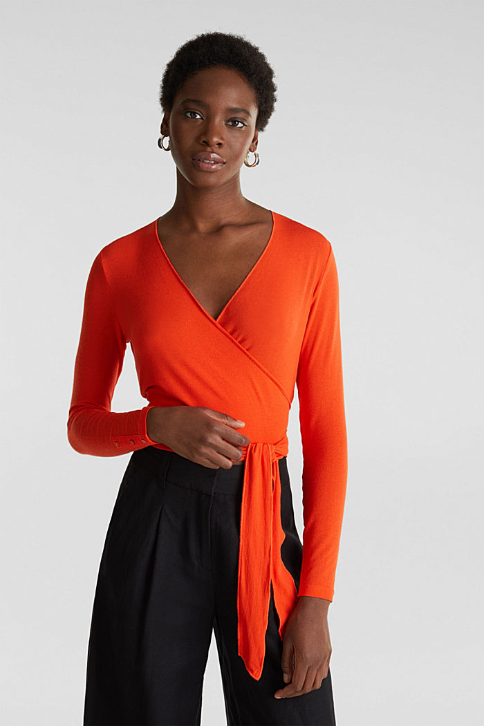 Stretch long sleeve top in wrap-over effect, RED ORANGE, detail image number 0