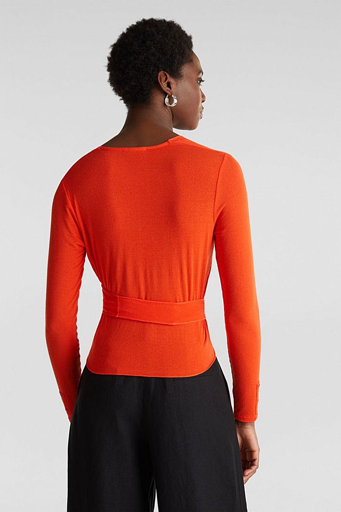 Stretch long sleeve top in wrap-over effect, RED ORANGE, detail image number 3