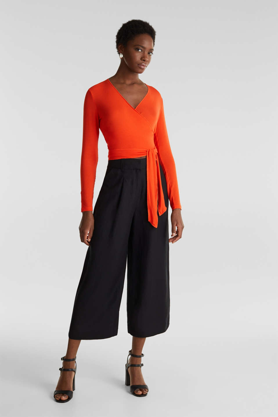 Stretch long sleeve top in wrap-over effect, RED ORANGE, detail image number 5