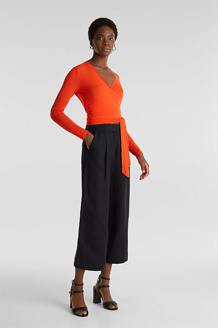 Stretch long sleeve top in wrap-over effect, RED ORANGE, detail image number 1