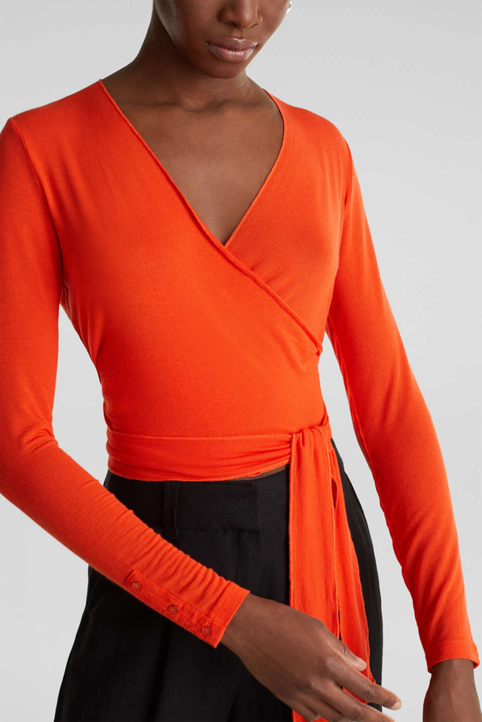 Stretch long sleeve top in wrap-over effect, RED ORANGE, detail image number 2