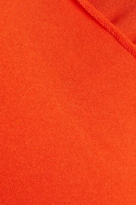 Stretch long sleeve top in wrap-over effect, RED ORANGE, detail