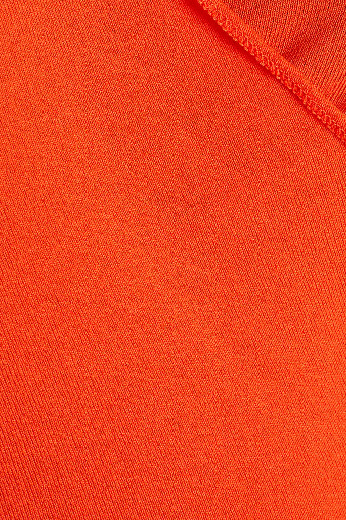 Stretch long sleeve top in wrap-over effect, RED ORANGE, detail image number 4