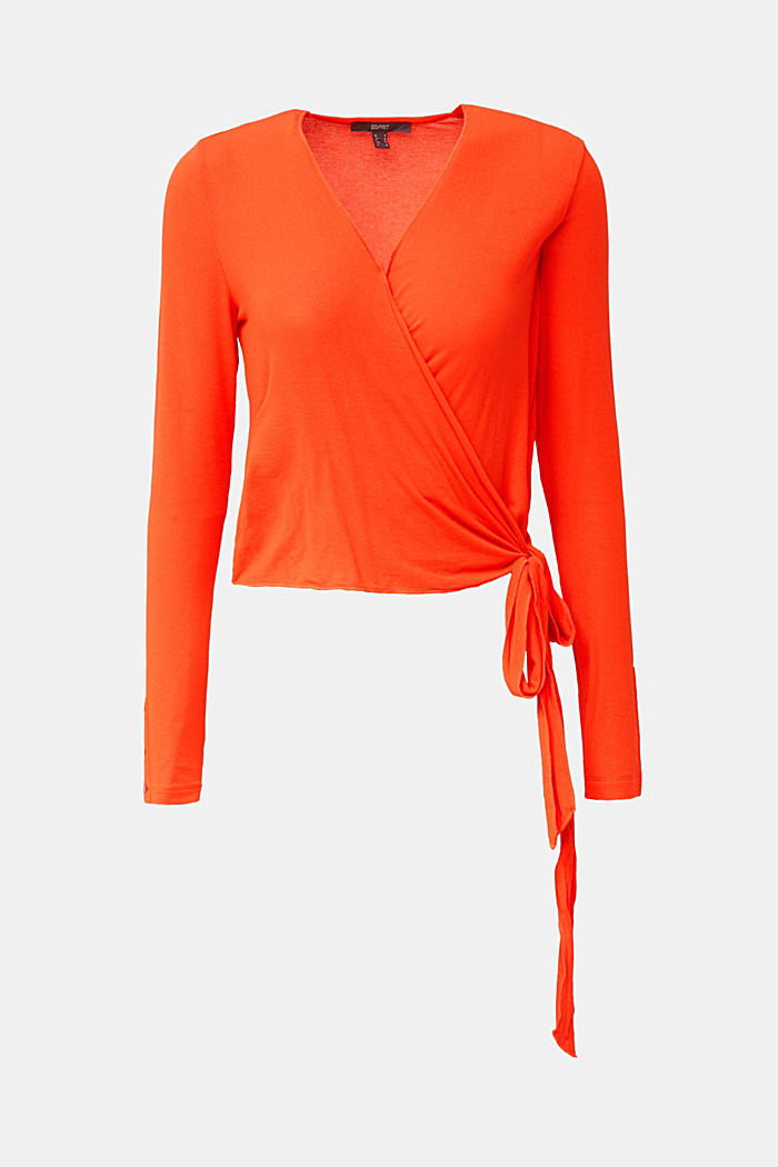 Stretch long sleeve top in wrap-over effect, RED ORANGE, detail image number 6