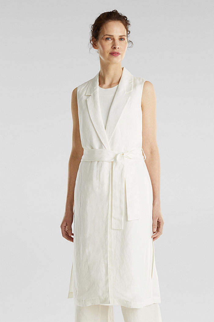 Blended linen: waistcoat with a tie-around belt