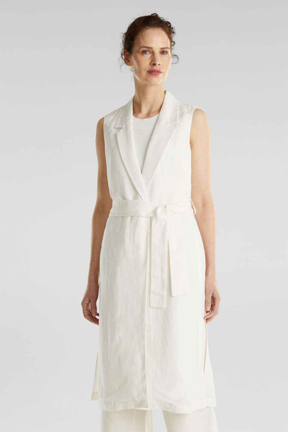 Blended linen: waistcoat with a tie-around belt, OFF WHITE, detail image number 0