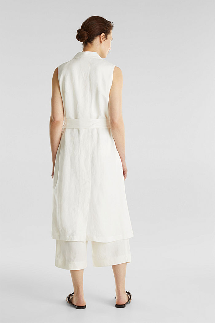 Blended linen: waistcoat with a tie-around belt, OFF WHITE, detail image number 3