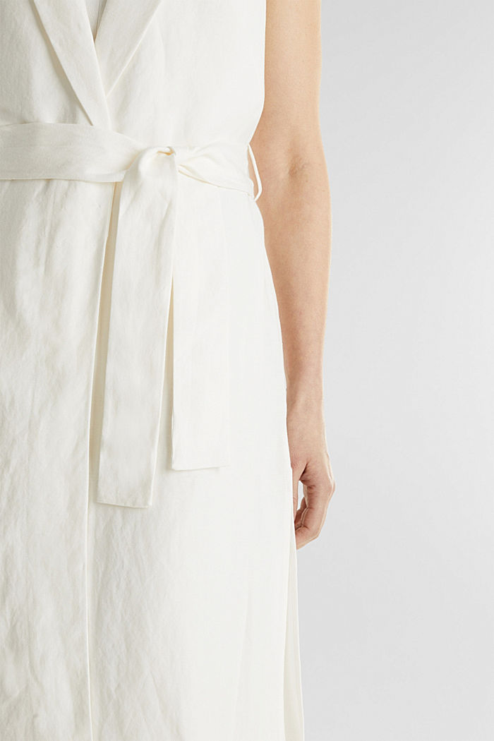 Blended linen: waistcoat with a tie-around belt, OFF WHITE, detail image number 2