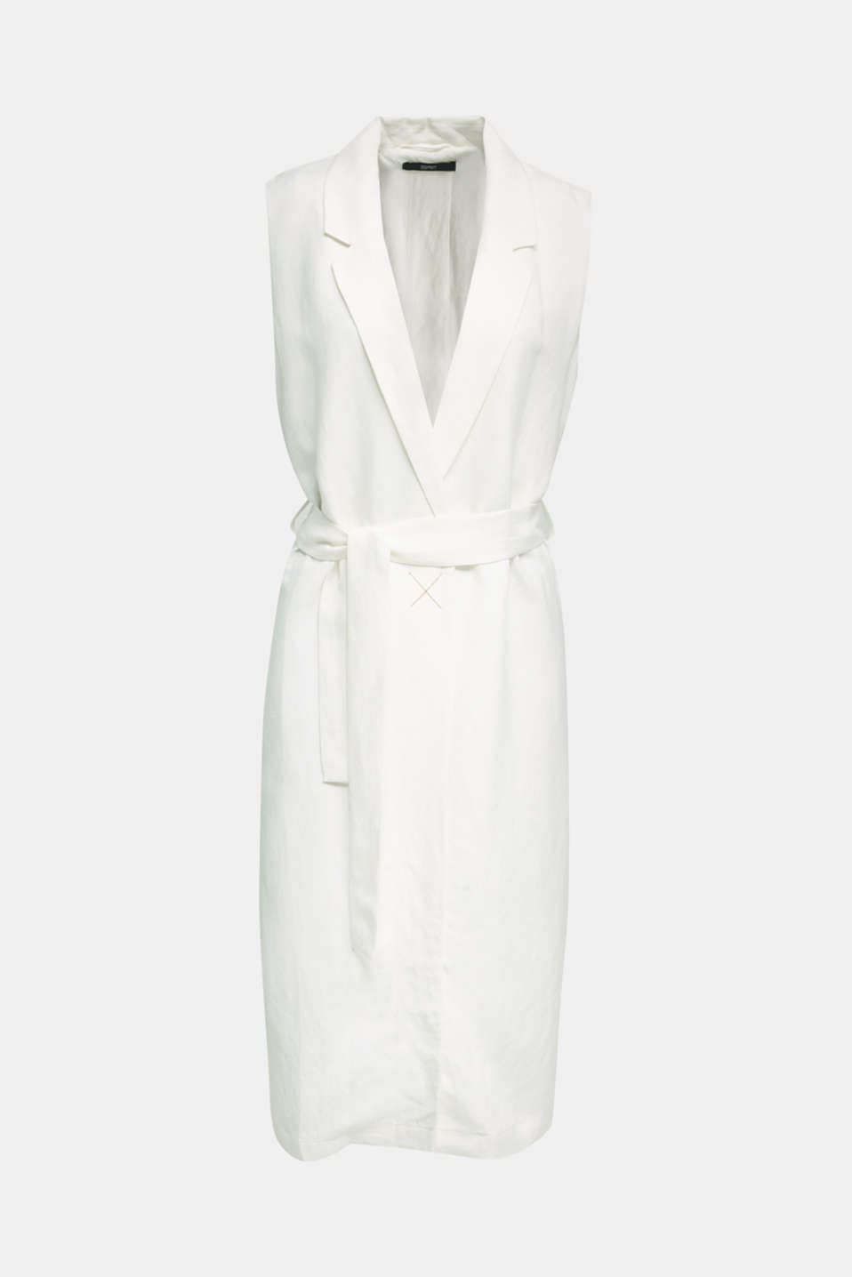 Blended linen: waistcoat with a tie-around belt, OFF WHITE, detail image number 5