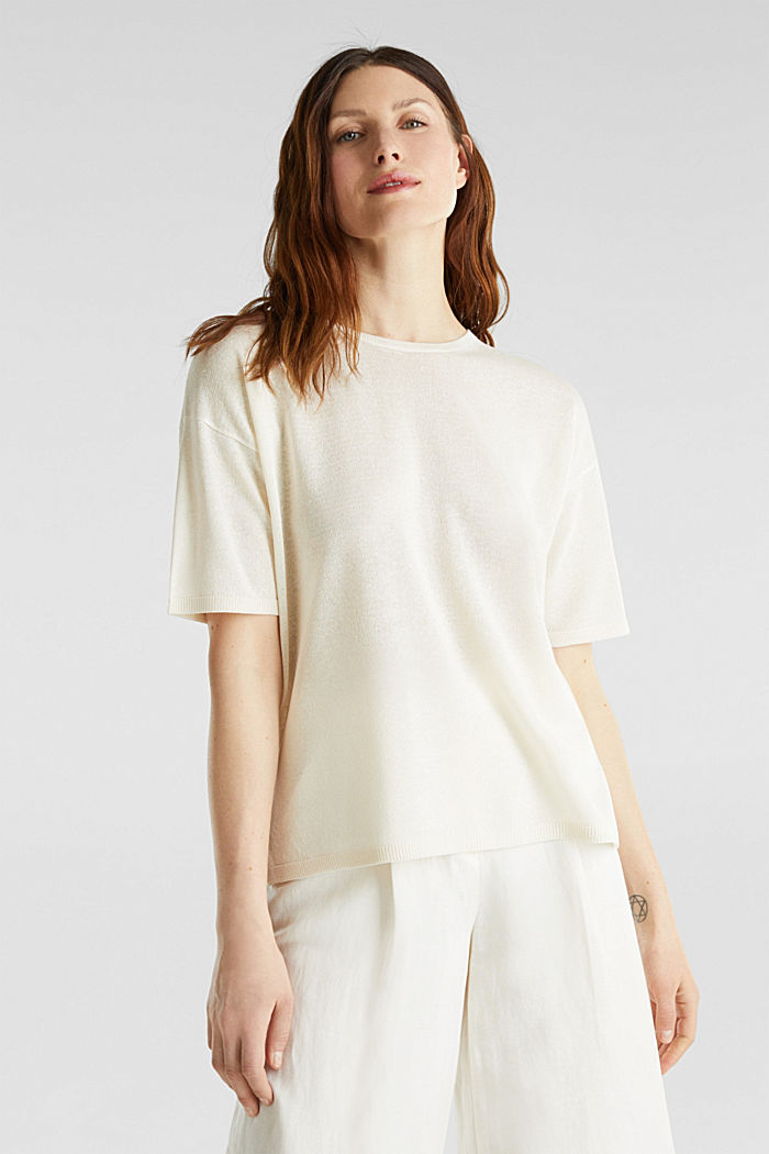 With linen: Short-sleeved jumper, OFF WHITE, detail image number 0