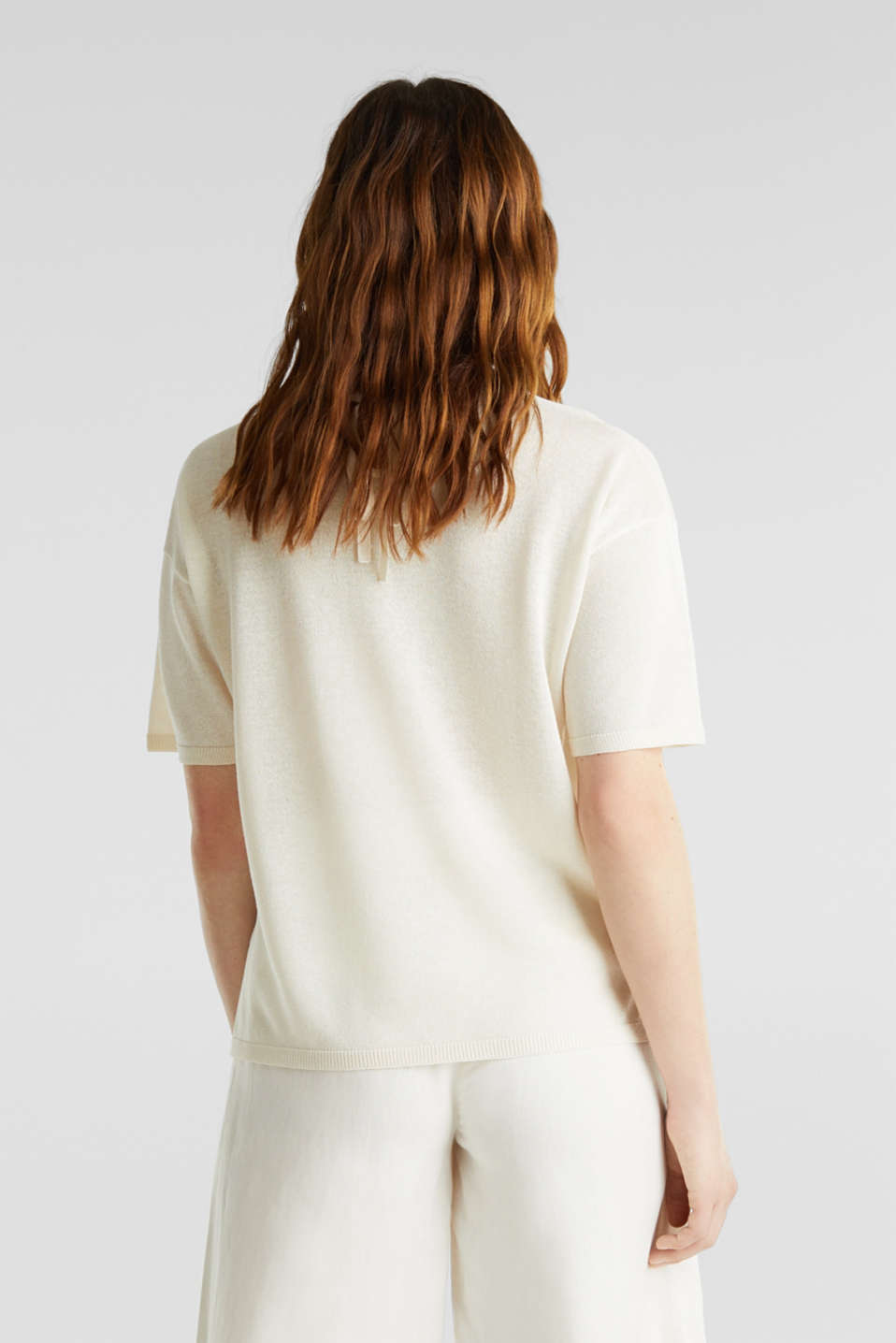 With linen: Short-sleeved jumper, OFF WHITE, detail image number 3