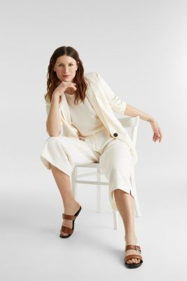 With linen: Short-sleeved jumper, OFF WHITE, detail