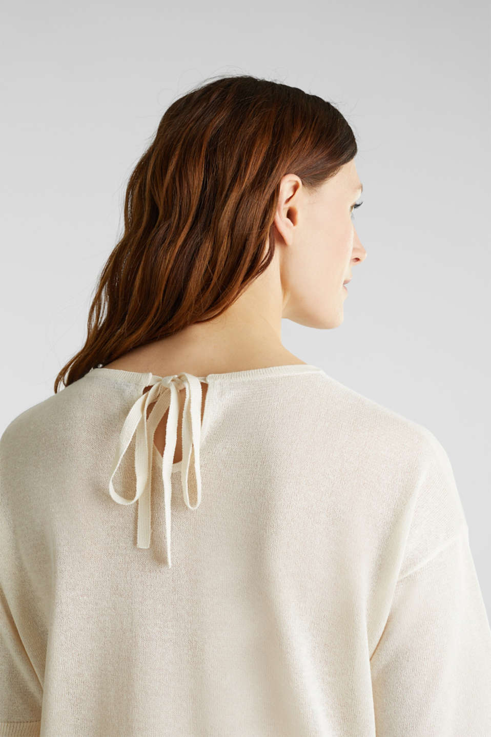 With linen: Short-sleeved jumper, OFF WHITE, detail image number 2