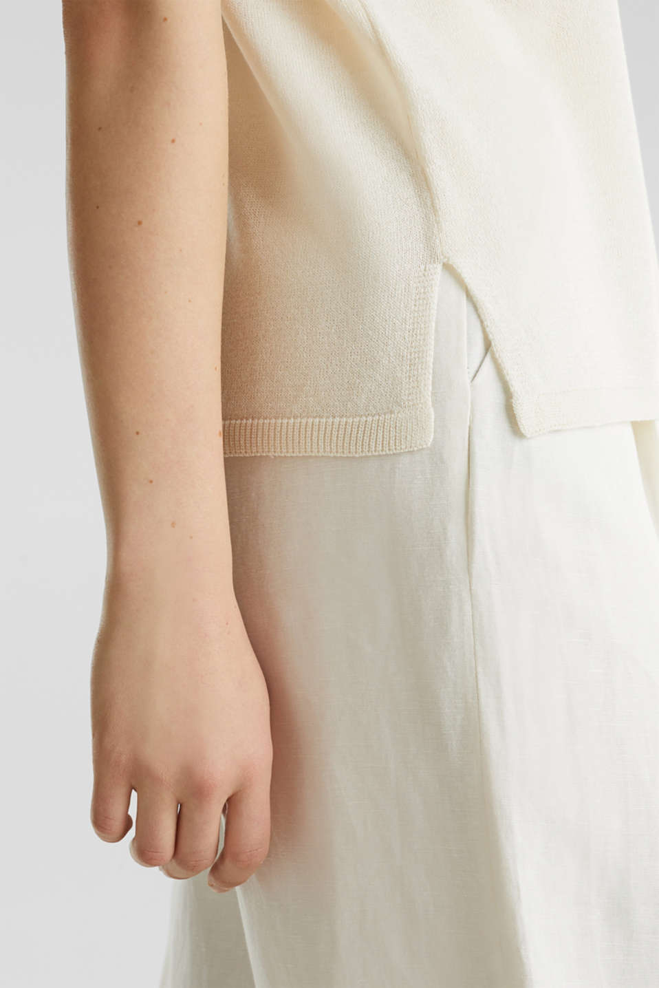 With linen: Short-sleeved jumper, OFF WHITE, detail image number 5
