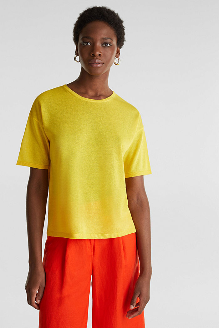 With linen: Short-sleeved jumper, YELLOW, detail image number 0