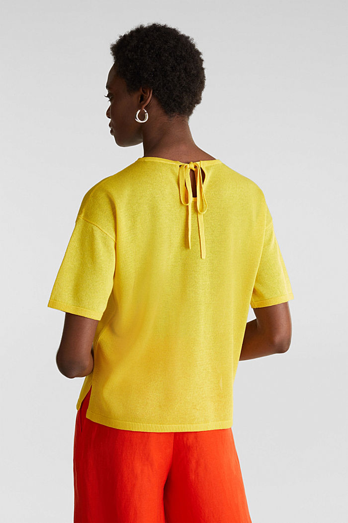 With linen: Short-sleeved jumper, YELLOW, detail image number 3
