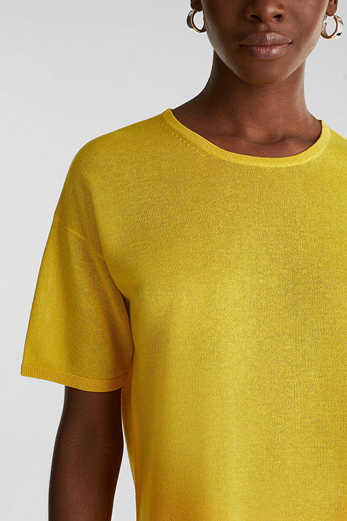 With linen: Short-sleeved jumper, YELLOW, detail image number 6