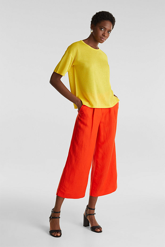 With linen: Short-sleeved jumper, YELLOW, detail image number 1