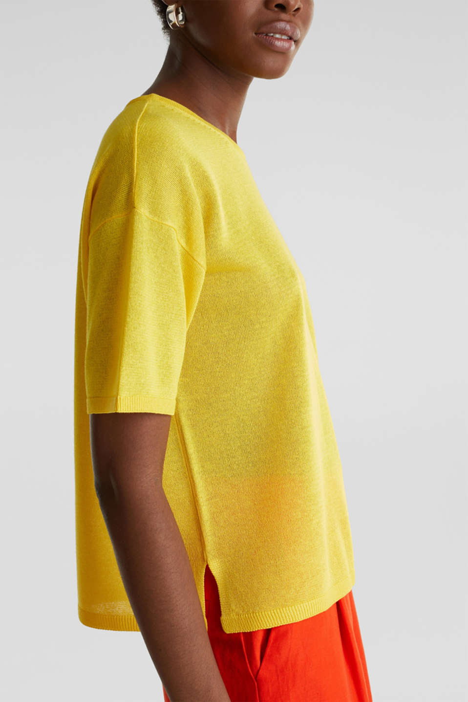 With linen: Short-sleeved jumper, YELLOW, detail image number 2