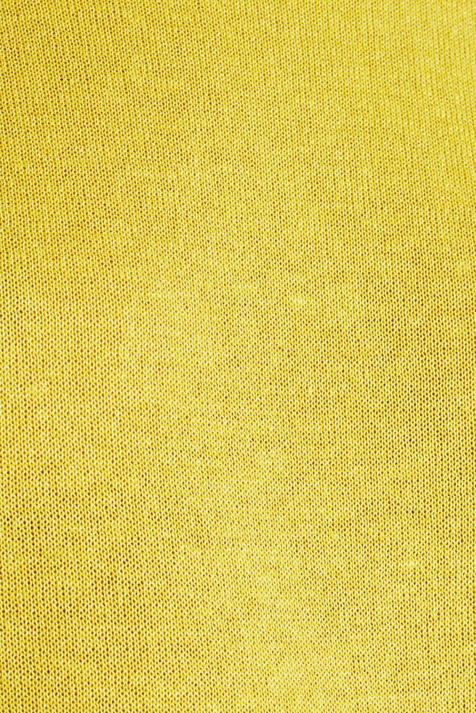 With linen: Short-sleeved jumper, YELLOW, detail image number 4
