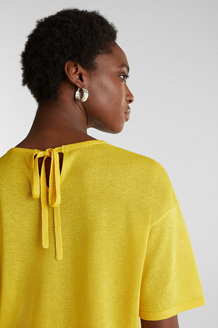With linen: Short-sleeved jumper, YELLOW, detail image number 5