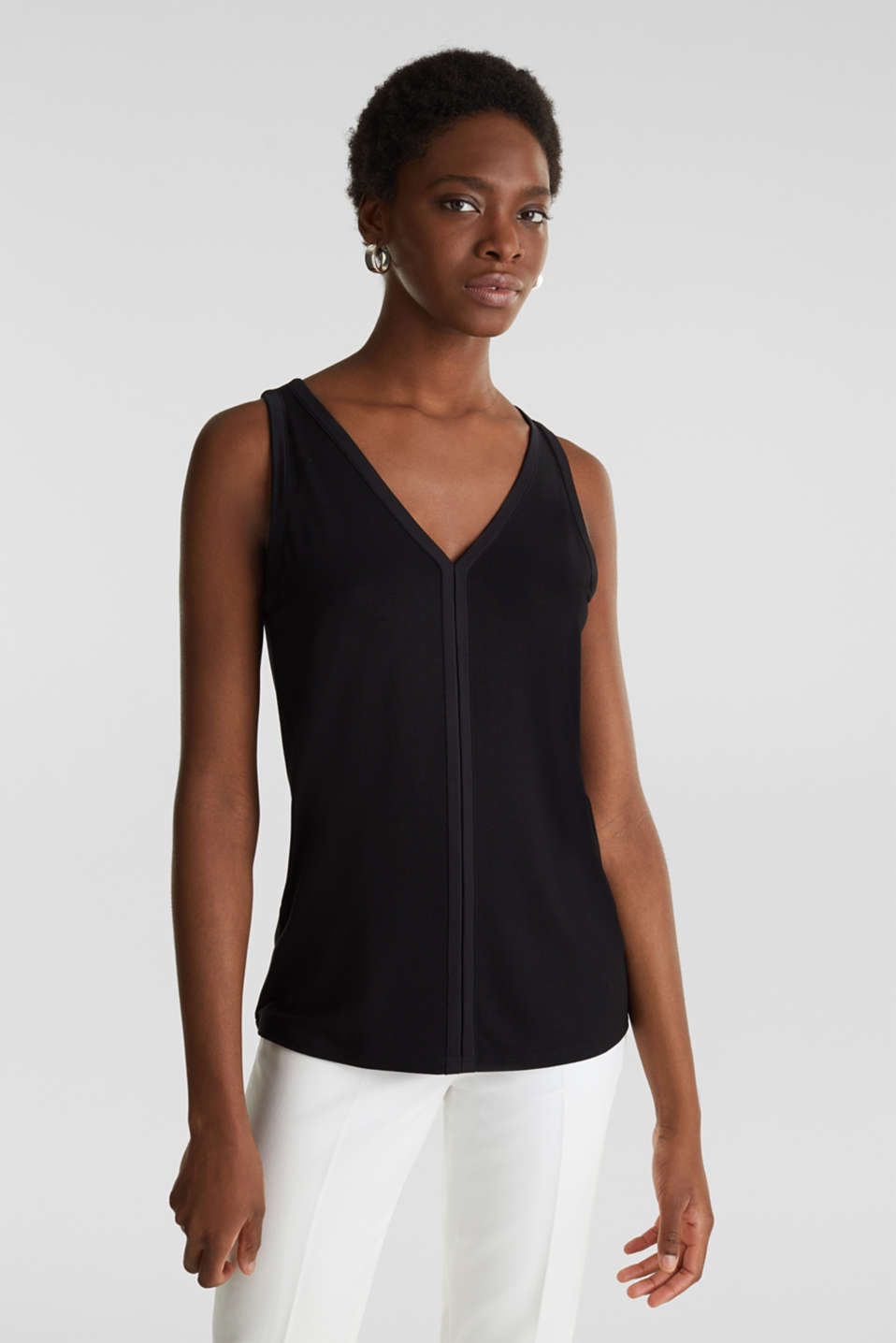 Stretchy tank top with satin details, BLACK, detail image number 0