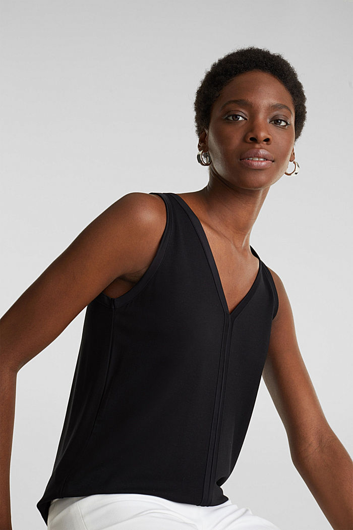 Stretchy tank top with satin details, BLACK, overview