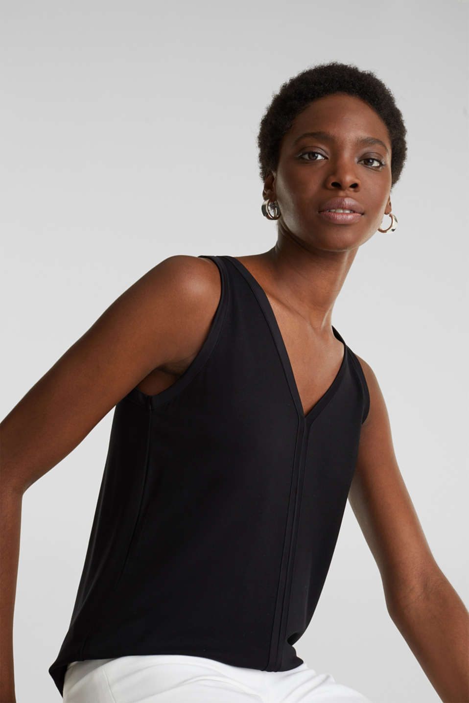 Stretchy tank top with satin details, BLACK, detail image number 5