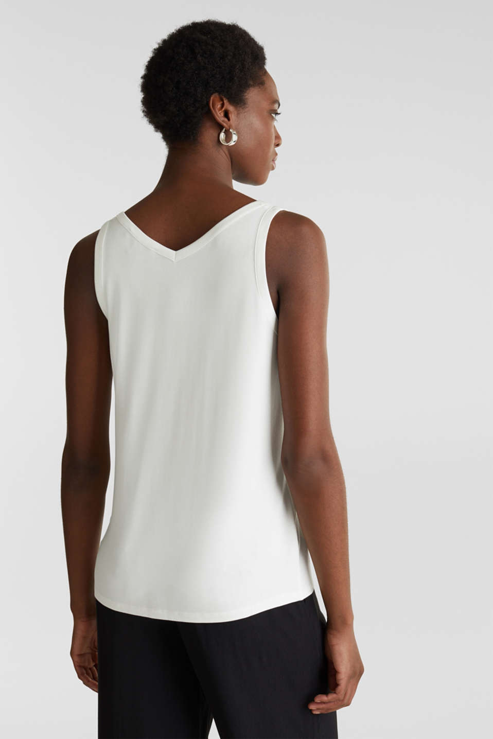 Stretchy tank top with satin details, OFF WHITE, detail image number 3
