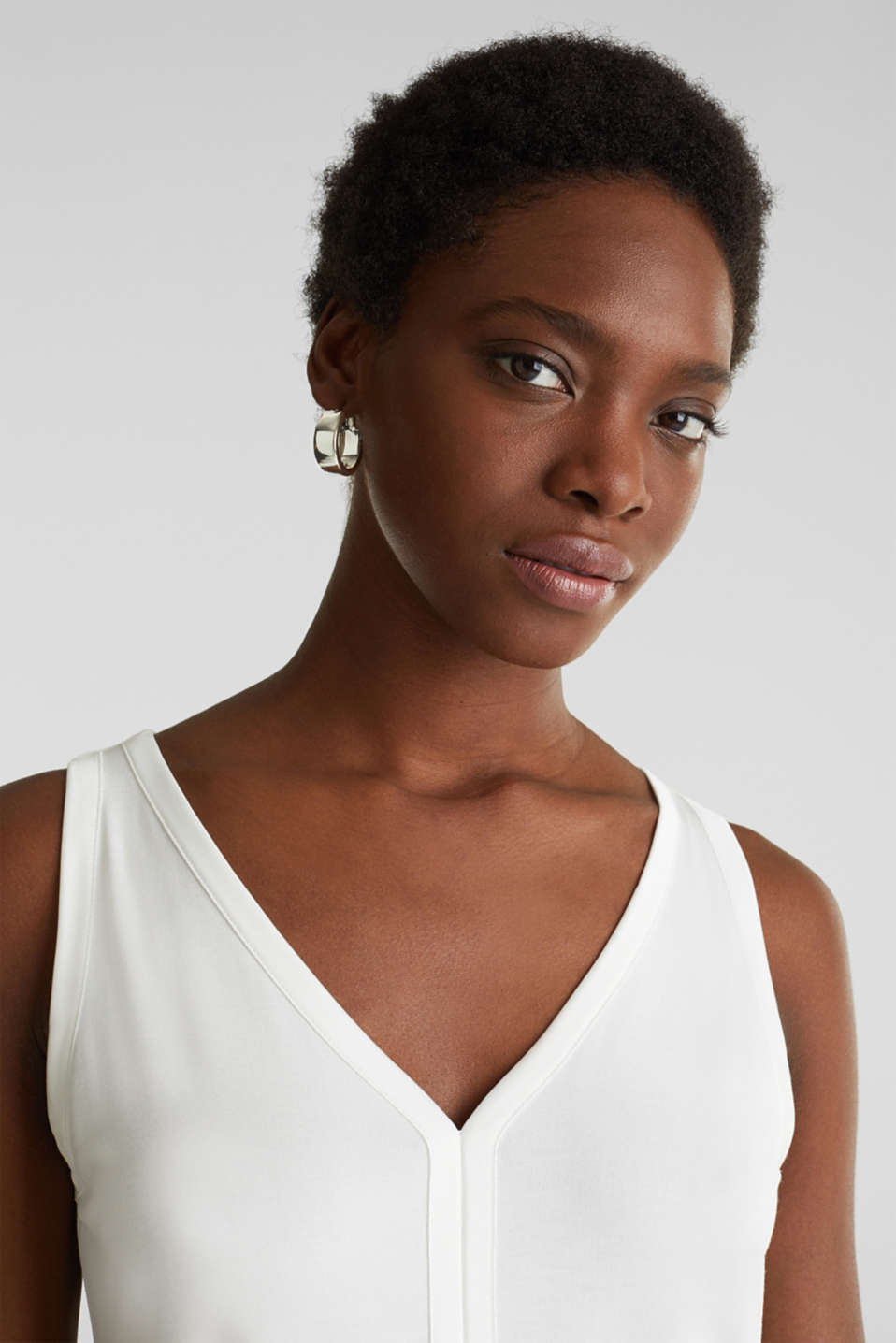 Stretchy tank top with satin details, OFF WHITE, detail image number 5
