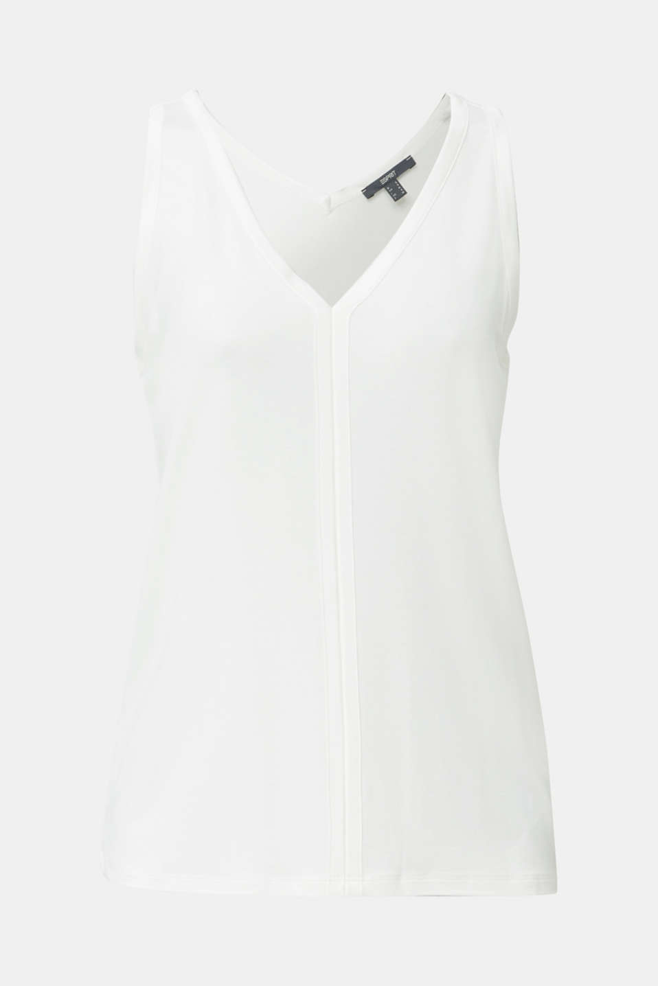 Stretchy tank top with satin details, OFF WHITE, detail image number 6
