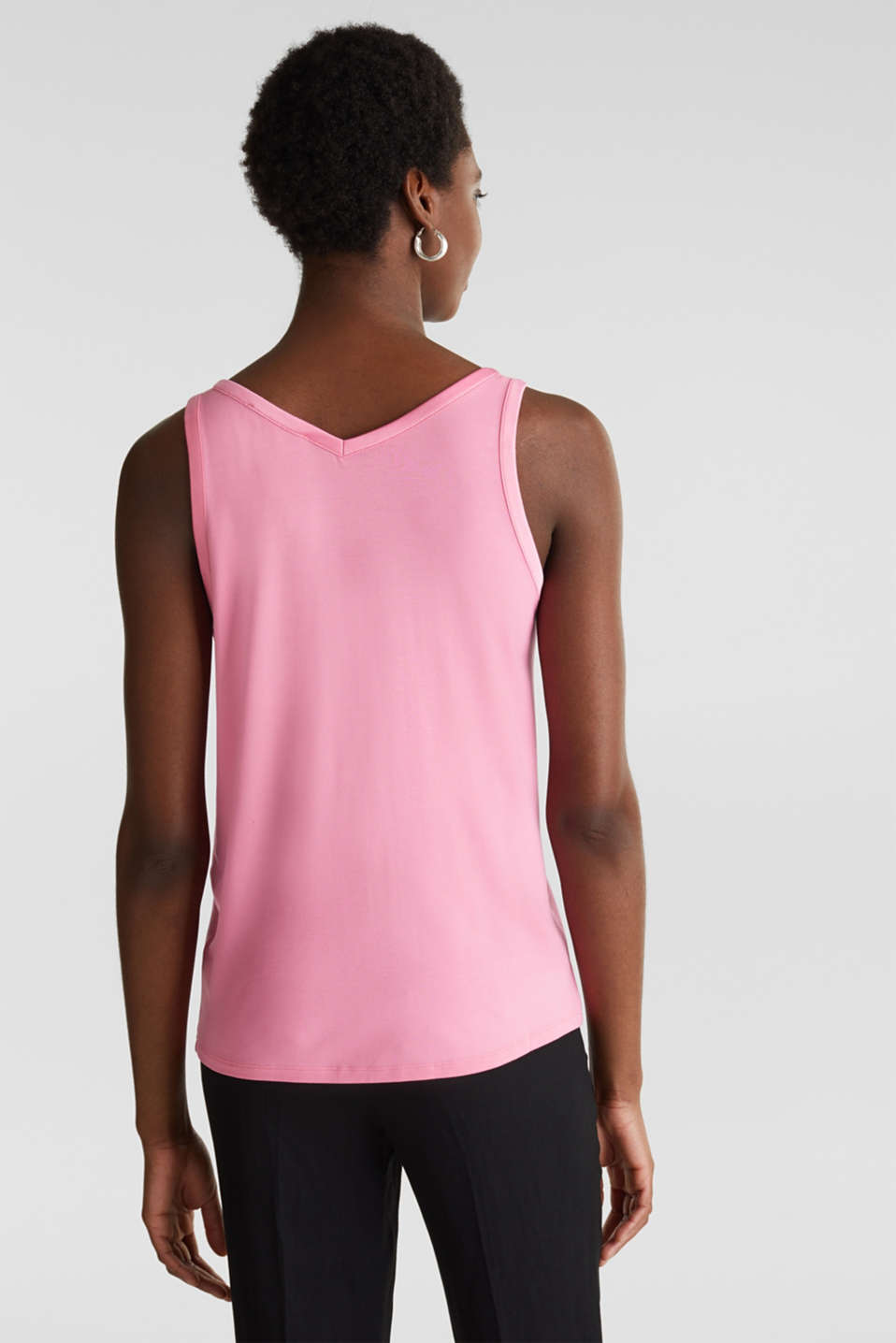 Stretchy tank top with satin details, PINK, detail image number 3