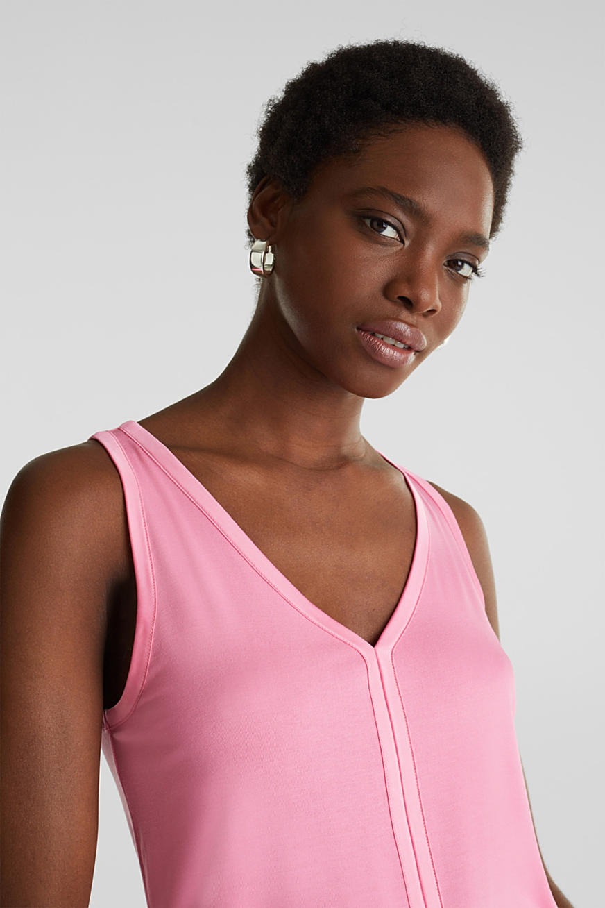 Stretchy tank top with satin details