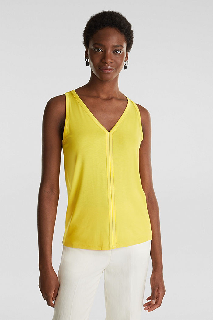 Stretchy tank top with satin details, YELLOW, detail image number 0