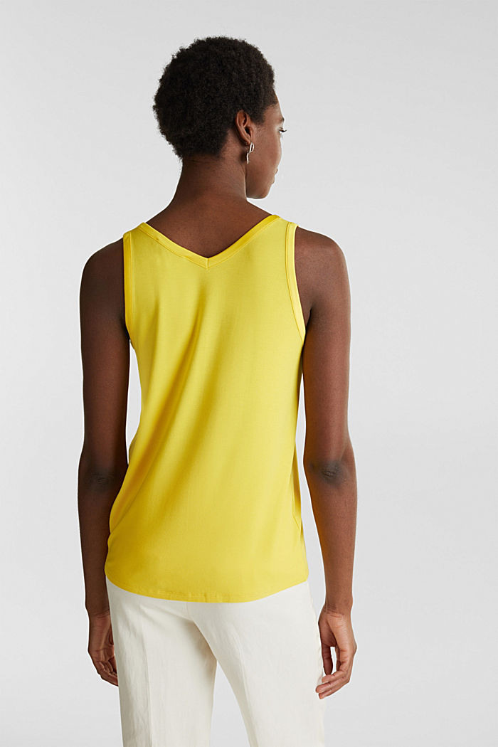Stretchy tank top with satin details, YELLOW, detail image number 3