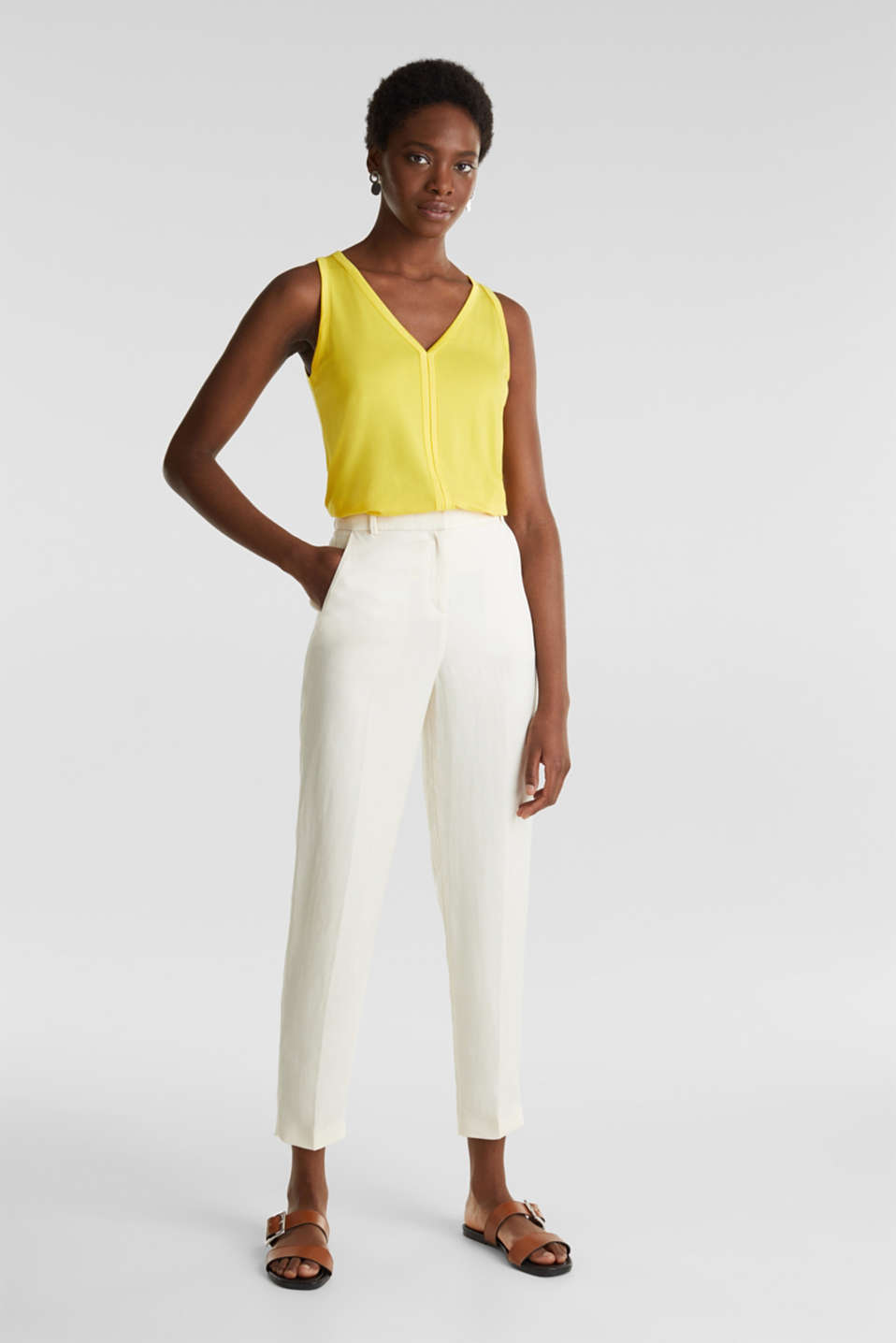 Stretchy tank top with satin details, YELLOW, detail image number 5