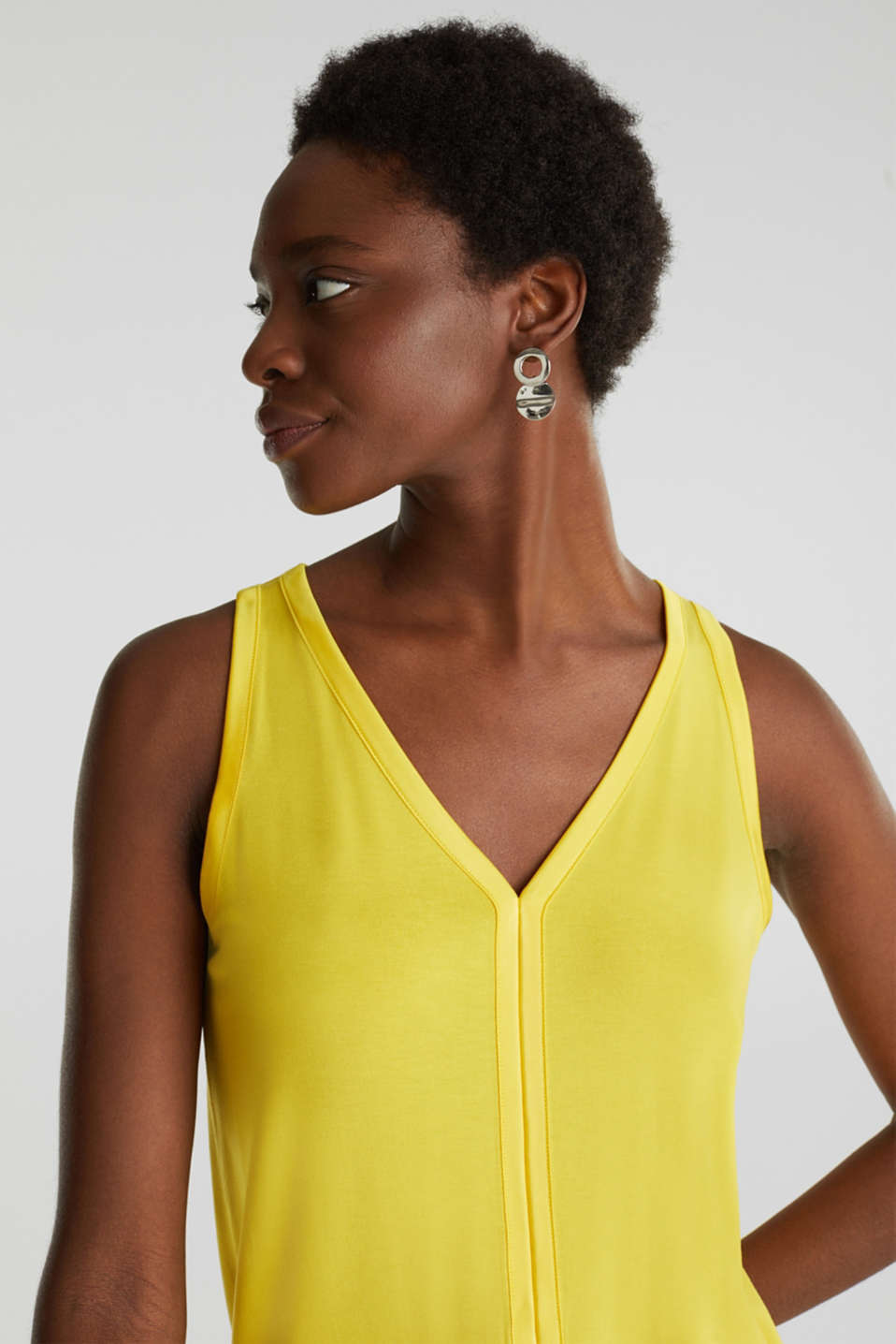 Stretchy tank top with satin details, YELLOW, detail image number 6